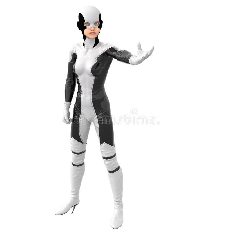 Jeden nastoletnia dziewczyna w białym ciemnym super kostiumu Stojaki w pozie obracającej stawiać czoło kamerę Stawia lewą rękę w  ilustracja wektor
