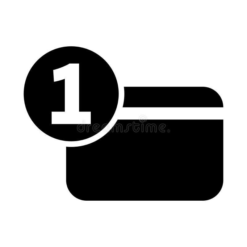 Jeden numerowa kredytowej karty mieszkania ikona ilustracja wektor