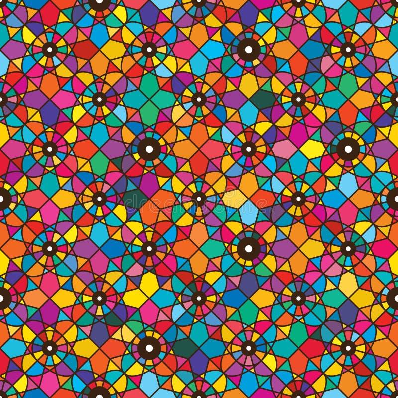 Jeden oko kwiatu diamentowy bezszwowy wzór ilustracji