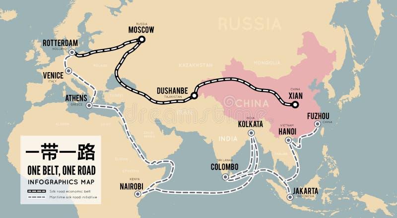 Jeden paska jeden droga Nowego chińczyka handlu jedwabnicza droga Wektorowy mapy infographics royalty ilustracja