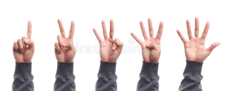 Jeden, pięć palców liczą ręka gest odizolowywającego zdjęcie royalty free
