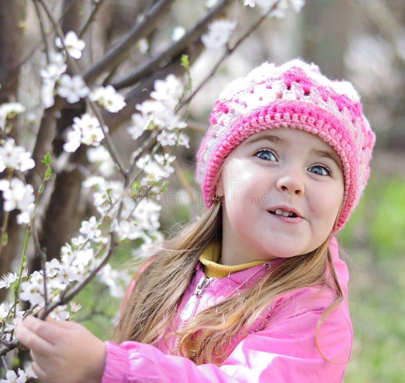Jeden piękna mała dziewczynka blisko kwiatonośnego drzewa zdjęcia royalty free