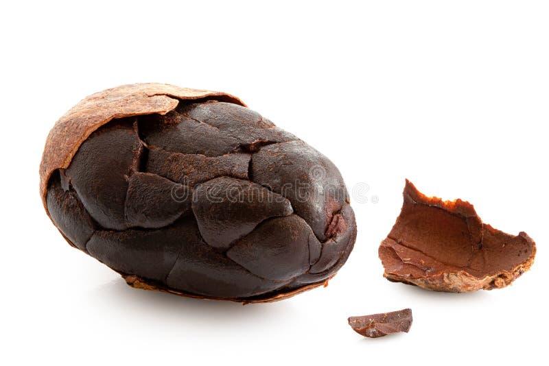 Jeden piec częsciowo obrana kakaowa fasola na bielu fotografia royalty free
