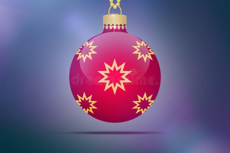 Jeden pojedyncza czerwona wisząca choinki piłka z żółtymi i złotymi gwiazda ornamentami na błękitnym różowym bokeh tle z obiektyw ilustracja wektor