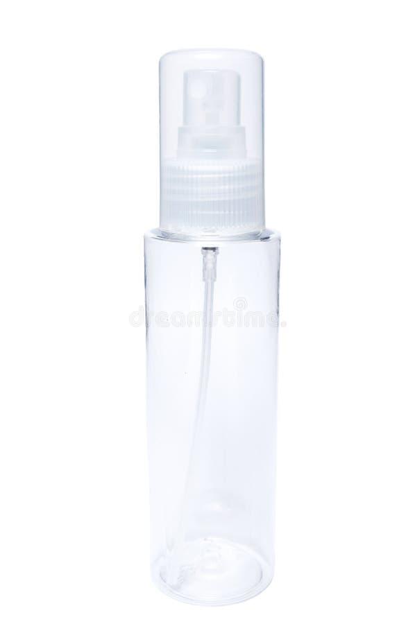 Jeden przejrzysty plastikowy kosmetyczny tubka zbiornik z natryskowym puma zdjęcie stock
