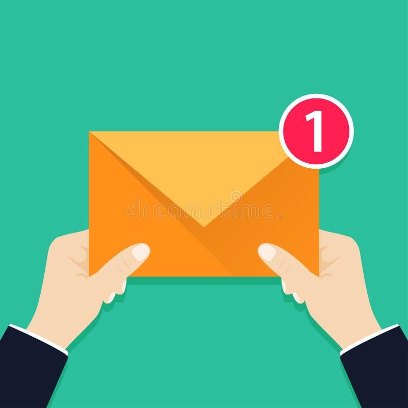 Jeden przybywającą wiadomość dla ciebie Ręki mienia koperta, list E-maila pojęcie Nowa, przybywająca wiadomość, royalty ilustracja