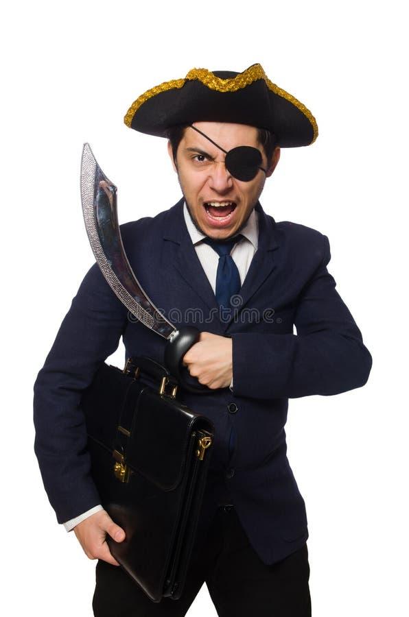 Jeden przyglądający się pirat z teczką obrazy stock