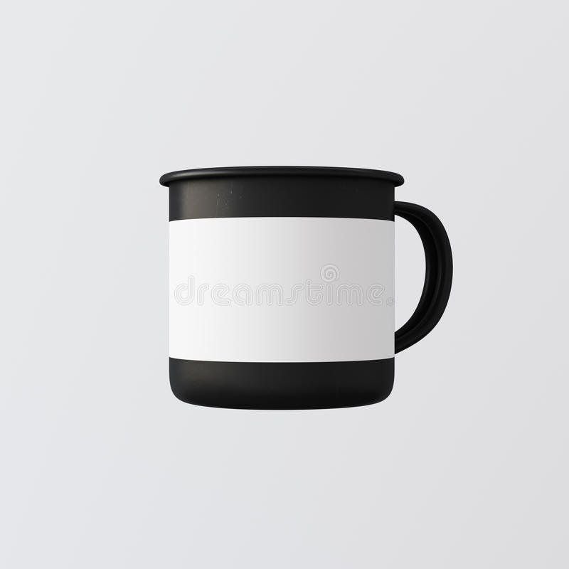 Jeden Pusty Matte Czarny Biały Gorący Herbaciany kubek Odizolowywający koloru Pusty tło Czysty metal kawy emalii filiżanki Mockup ilustracja wektor