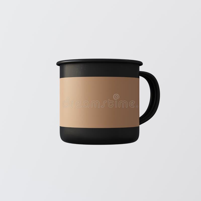 Jeden Pusty Matte Czarny Gorący Herbaciany kubek Odizolowywający koloru Pusty tło Czysty Mockup Przygotowywający metal kawy emali ilustracja wektor