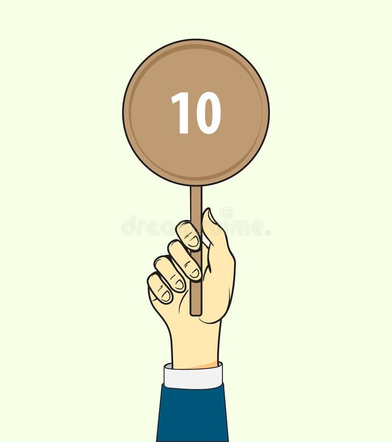 Jeden ręka podtrzymuje karta wyników Rywalizacja, quiz, egzaminu poj?cie wektor ilustracja wektor