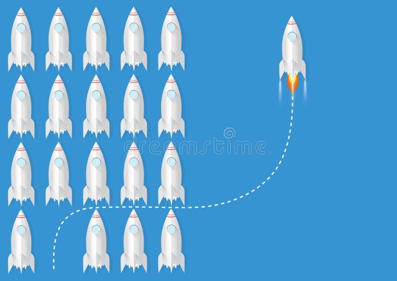 Jeden rakietowy odmienianie kierunek inaczej od inny, biznesowej innowacji przywódctwo myśli różny nowy pomysł zmienia trend ilustracji