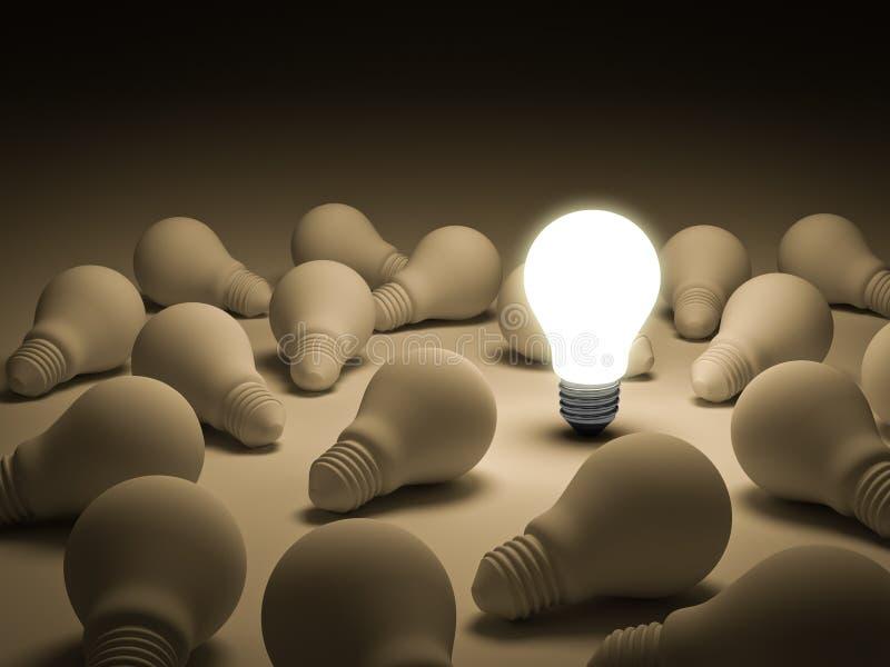 Jeden rozjarzona żarówka stoi out od unlit płonących lightbulbs ilustracja wektor