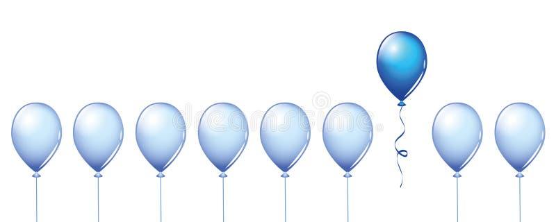 Jeden specjalny błękita balon w grupie ilustracja wektor