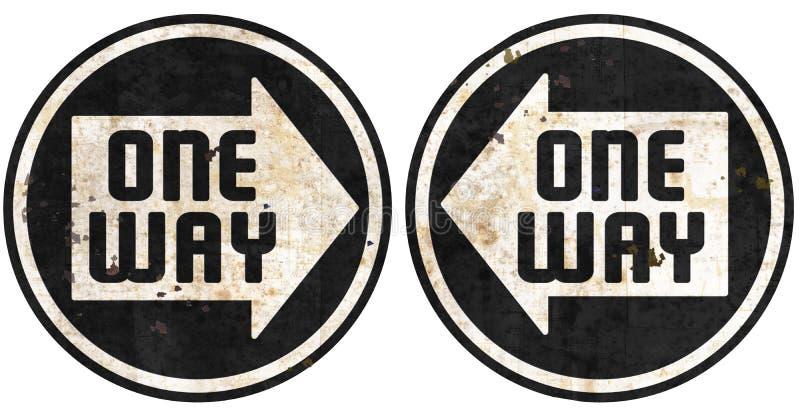 Jeden sposób ten sposobu metalu znaków ulicznych grunge strzała ilustracja wektor