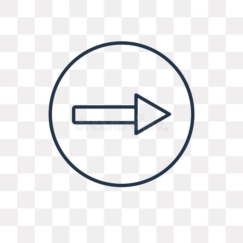 Jeden sposób wektorowa ikona odizolowywająca na przejrzystym tle, liniowy O ilustracja wektor