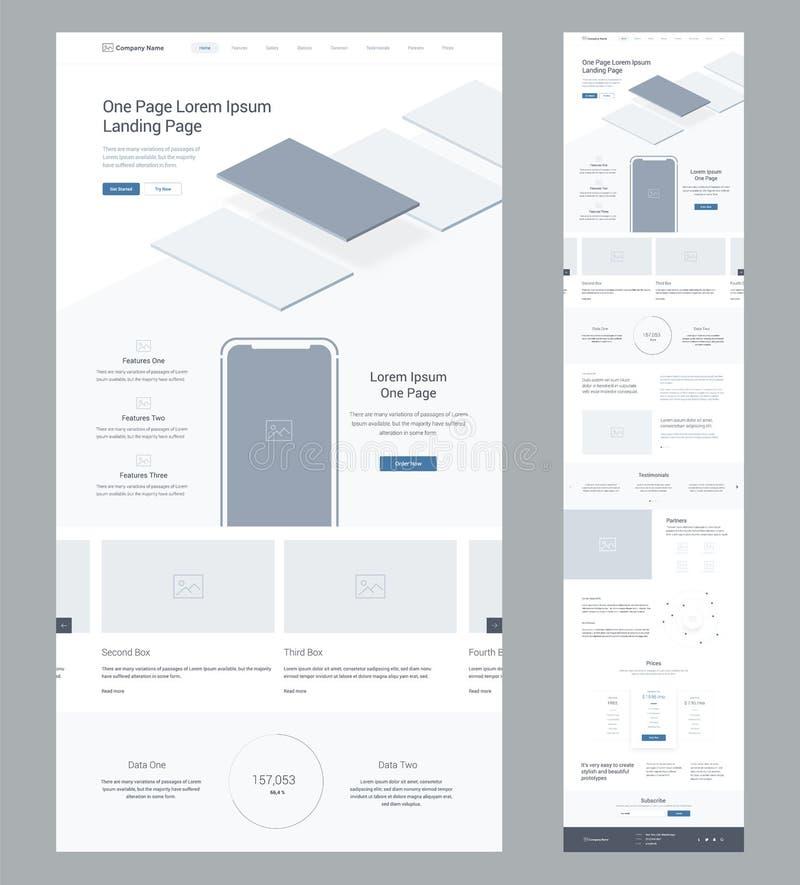 Jeden strony strony internetowej projekta szablon dla biznesu Desantowa strona Wireframe Płaski nowożytny wyczulony projekt Ux ui royalty ilustracja