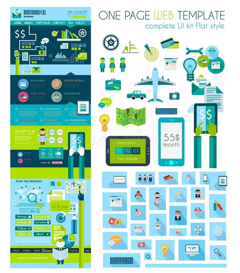 Jeden strony strony internetowej mieszkania UI projekta szablon royalty ilustracja