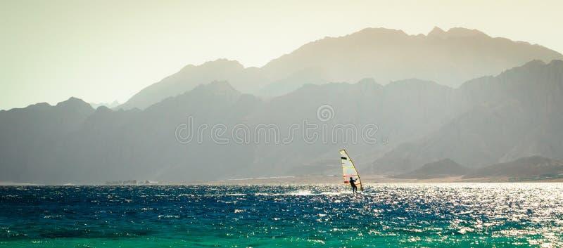 Jeden surfingowiec jedzie w Czerwonym morzu przeciw tłu skalisty wybrzeże w Egipt w wieczór zdjęcie royalty free