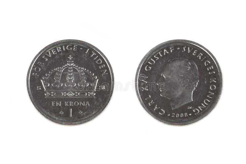 Jeden szwedzi korony moneta fotografia stock