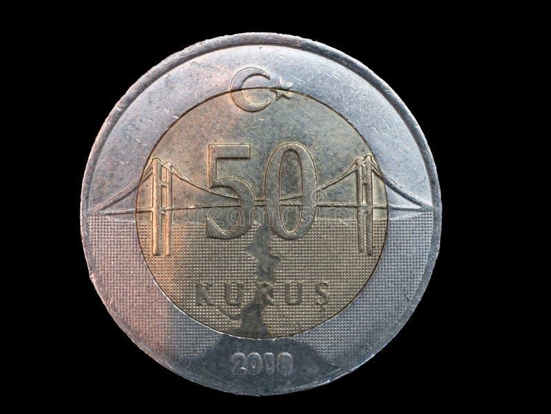 Jeden turecka moneta na czarnym tle zdjęcie stock