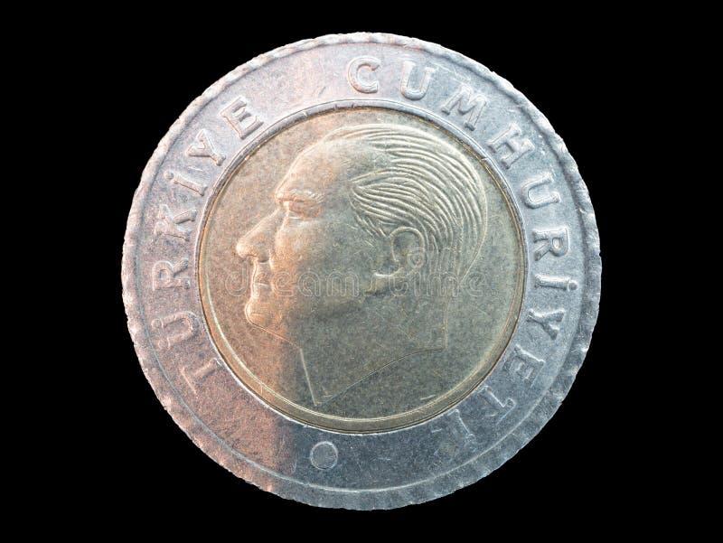 Jeden turecka moneta na czarnym tle obraz royalty free