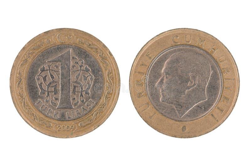 Jeden Tureckiego lira moneta obrazy stock