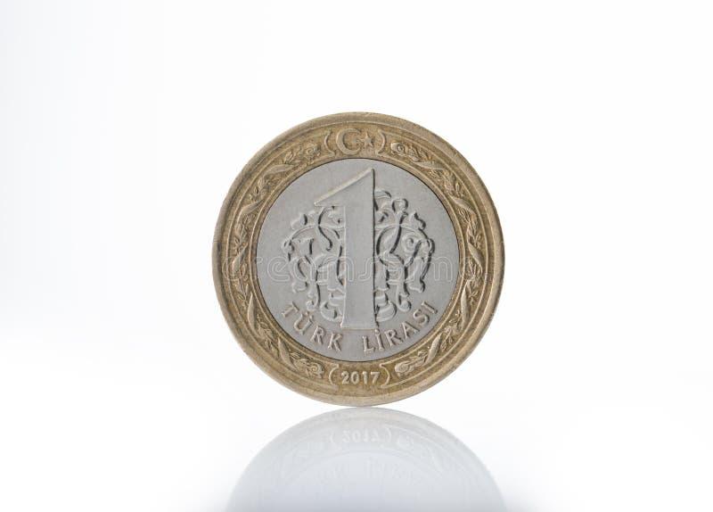 Jeden Tureckiego lira moneta fotografia royalty free