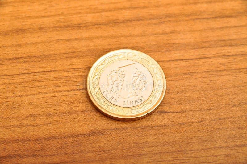 Jeden Tureckiego lira moneta obraz royalty free