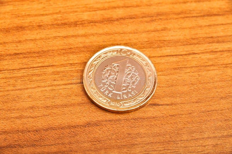 Jeden Tureckiego lira moneta obraz stock
