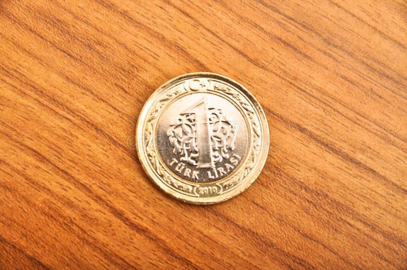 Jeden Tureckiego lira moneta zdjęcie royalty free