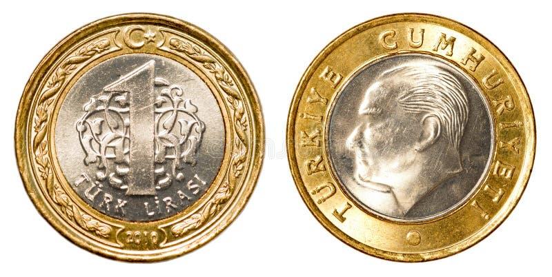 Jeden Tureckiego lira moneta fotografia stock