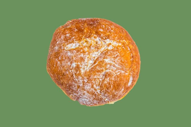 Jeden waniliowy pączek z sproszkowanym cukierem odizolowywającym na oliwnym tle przycinać Odg?rny widok zdjęcia stock