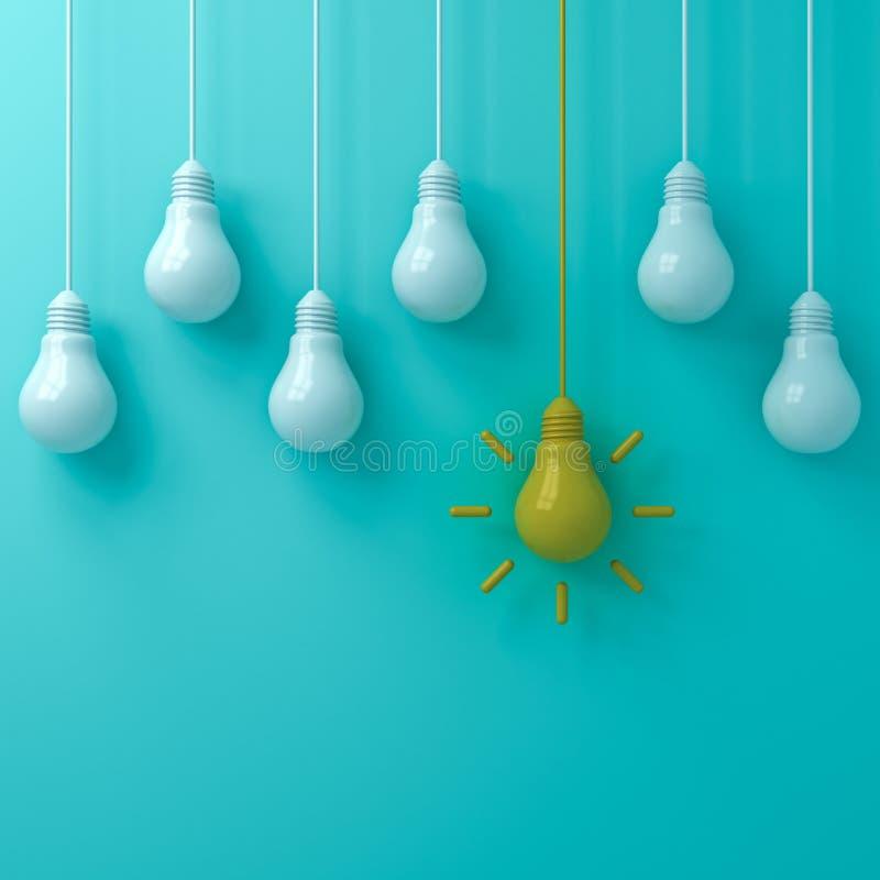 Jeden wisząca żółta pomysł żarówka stoi out od białych unlit żarówek na błękitnej zieleni pastelowego koloru tle royalty ilustracja