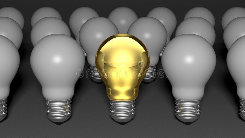 Jeden złota żarówka wśród wiele światło białe żarówek ilustracji