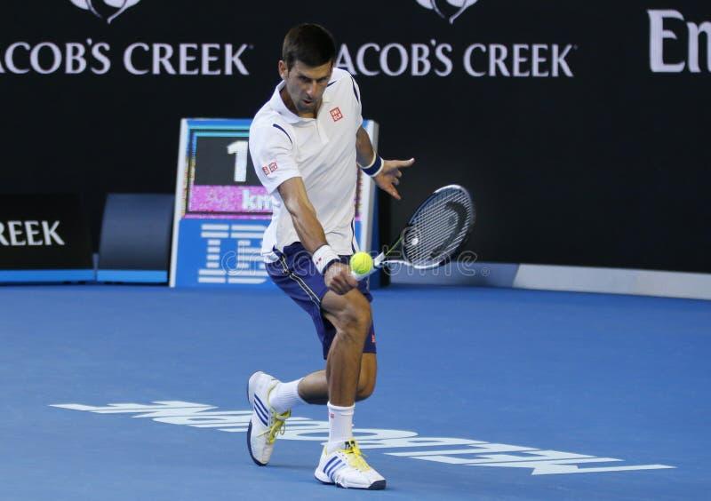 Jedenaście czasów wielkiego szlema mistrz Novak Djokovic Serbia w akci podczas jego round 4 dopasowania przy australianem open 20 obrazy royalty free