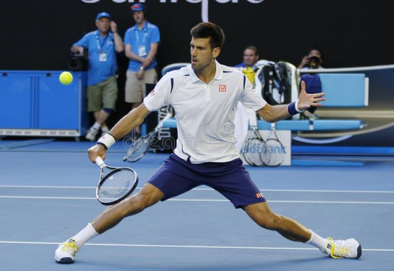 Jedenaście czasów wielkiego szlema mistrz Novak Djokovic Serbia w akci podczas jego round 4 dopasowania przy australianem open 20 zdjęcia royalty free