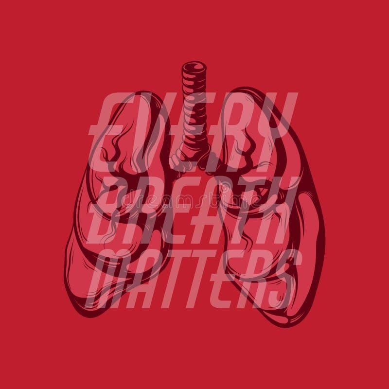 Jeder Atem ist von Bedeutung Vector Hand gezeichnetes Plakat mit den Lungen und den Blumen stock abbildung