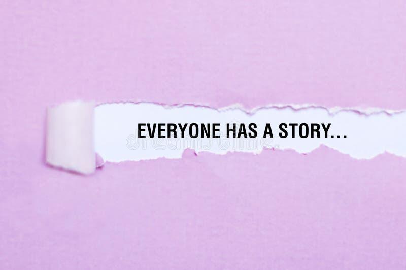 Jeder hat ein Geschichtenwortkonzept lizenzfreies stockfoto