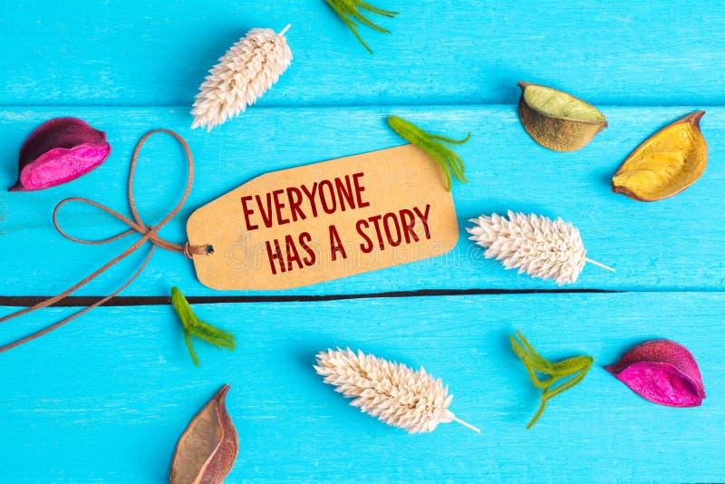 Jeder hat einen Geschichtentext auf Papiertag stockbilder