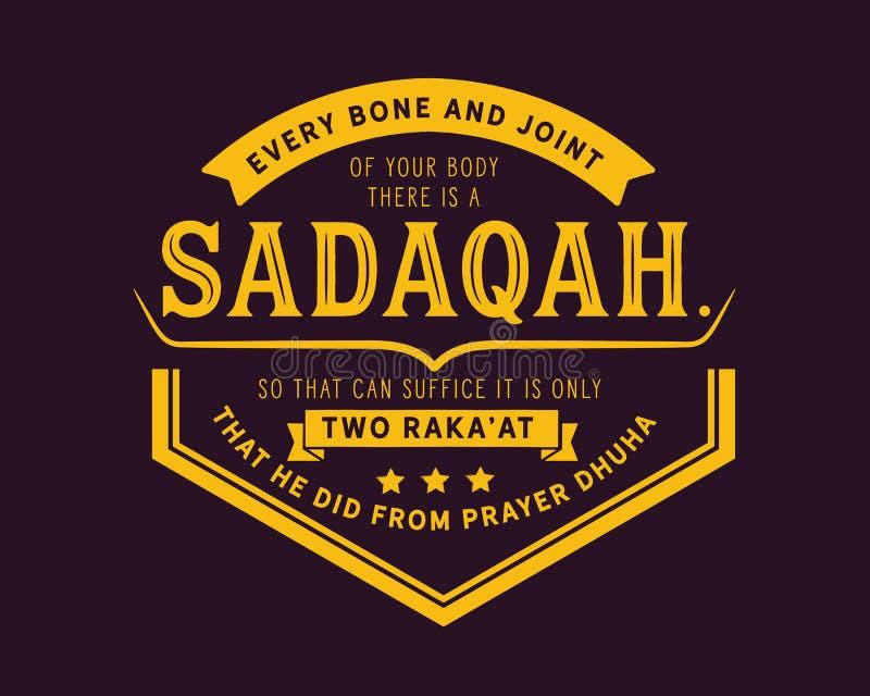 Jeder Knochen und Gelenk Ihres Körpers dort ist ein sadaqah, damit es genügen kann ist raka nur zwei 'an dem, das er von Gebet dh vektor abbildung