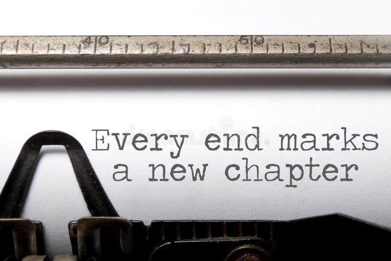 Jedes Ende ist ein neues Kapitel stockbild