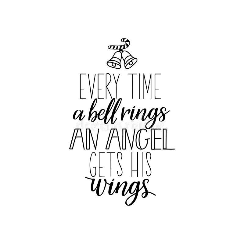 Jedes Mal wenn eine Glocke schellt, erhält ein Engel seine Flügel beschriftung Kalligraphievektorillustration Frohe Weihnachten lizenzfreie abbildung