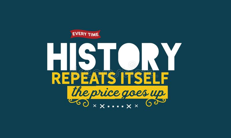 Jedes Mal wenn Geschichte sich wiederholt, steigt der Preis vektor abbildung