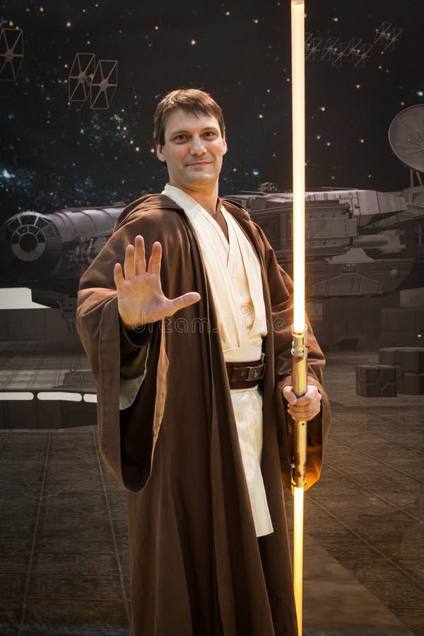 Jedi cosplay在G!在米兰,意大利来giocare 免版税库存照片