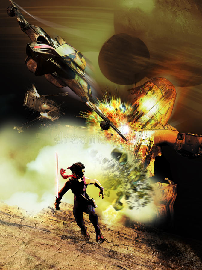 Jedi escaping. Jedi woman escaping from an explosion of a battle robot destructed by a space fighter vector illustration