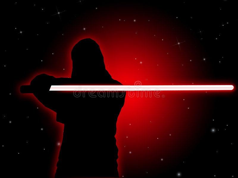 Jedi With Light Saber royalty free illustration