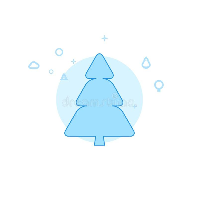 Jedlinowy drzewo, Conifer Drzewna Płaska Wektorowa ilustracja, ikona B?awy Monochromatyczny projekt Editable uderzenie ilustracja wektor