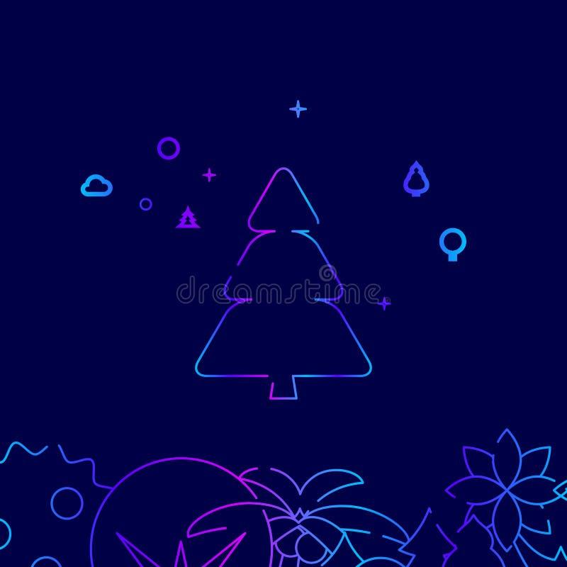 Jedlinowy drzewo, Conifer wektoru linii Drzewna ikona, ilustracja na zmroku - błękitny tło Powi?zana dno granica royalty ilustracja