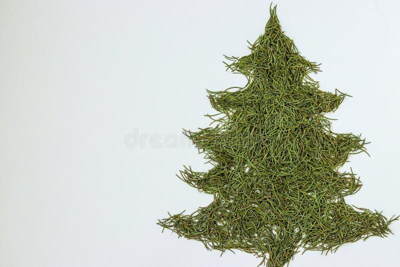 Jedlinowy drzewo - symbol boże narodzenia i nowy rok, stylizacyjny kształt robić ręcznie świerkowe igły odizolowywać na białym tl obrazy royalty free