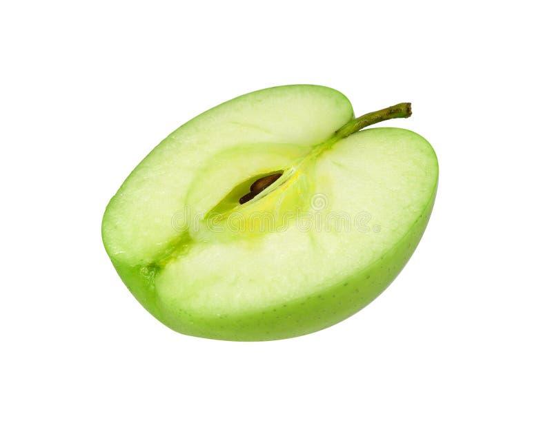 Jedna druga pokrojony zielony jabłko odizolowywający na białym backgroun obrazy royalty free